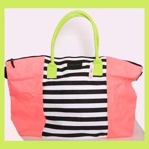 Victoria's Secret Neon Pink & Green + Stripes Tote